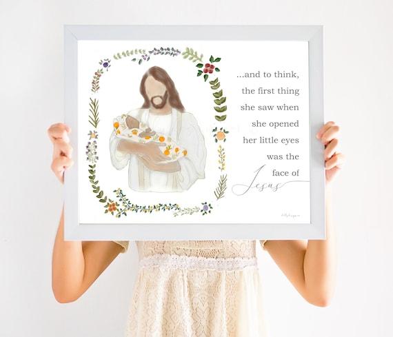 Memorial Gift, Darker Skin, Christ, Christ Holding Infant, Autumn Wreath, Oranges Blanket, Face of Jesus, Infant Loss, Baby Loss, Christian
