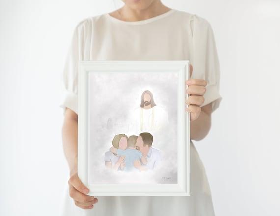 Little Boy Memorial, Boy Hugging Parents, Little Boy With Christ, Jesus Christ Artwork, Parents Hugging Child, Little Boy Funeral, Child Art