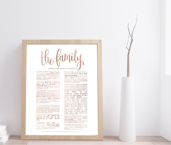 Family Proclamation, Modern Emphasized, Rose Gold, Modern LDS Printable, The Family, TheFamily Proclamation, Church of Jesus, Modern LDS Art