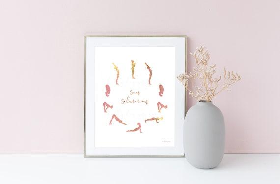 Yoga Printable, Printable Yoga, Sun Salutation, Sun Salutation Printable, Yoga JPG, Yoga Exercise, Yoga Sequence, Yoga Art, Yoga Wall Art