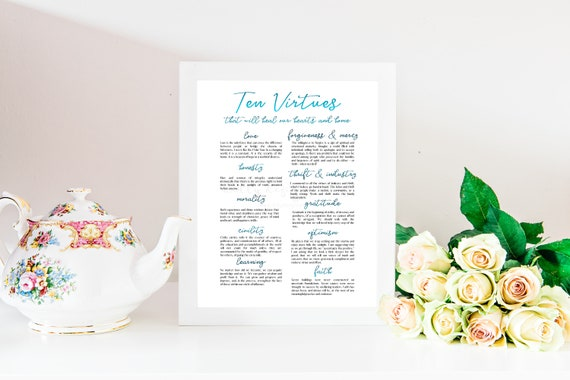 Ten Virtues, Virtues Printable, The Church Printable, Church Printables, Virtues, Young Womens, Church of Jesus, Jesus Christ, Faith, Virtue