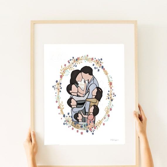 Pencil By Kamie, Family Artwork, Printable Art, Family of 8, Receive Exactly What You See, Three Boys, Two Girls, All Dark Hair, Family Art