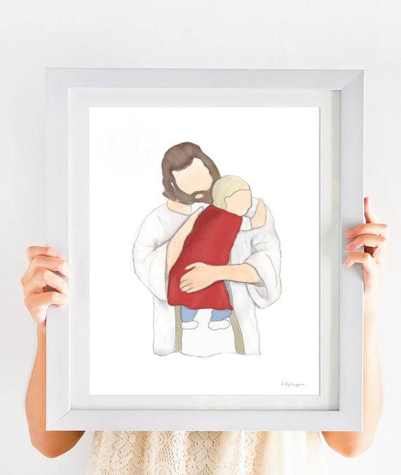 Our Litte Superhero, In Christ's Arms, Hugging Jesus, Christ Embrace, Funeral Gift, Little Boy Loss, Toddler Loss, Baby Loss, Preemie Loss