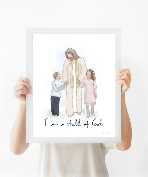 I Am A Child Of God, Printable Art, Christ Art, Jesus Art, Jesus and Children, Christ With Children, Children With Jesus, Walk With Jesus