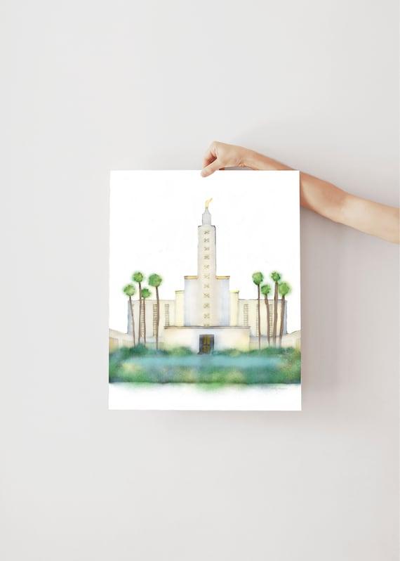 Los Angeles Temple, Temple Watercolor, Digital Watercolor, Hand Drawn, Digital Art, LDS Temples, Temple Artwork, Temple Sealing, LDS Cali