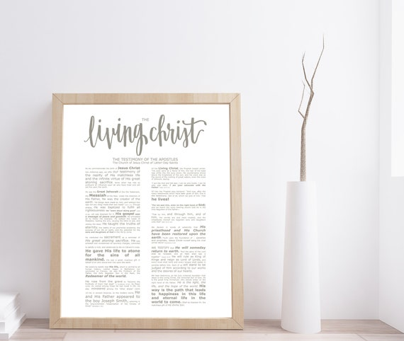 The Living Christ, Modern Emphasized, Modern LDS Printable, Living Christ, Calligraphy, Modern Printable, Church of Jesus Christ, Latter Day