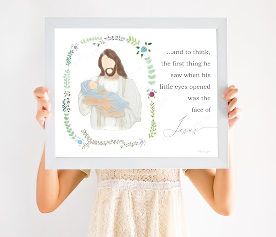 Miscarriage Gift, Miscarriage, Infant loss, Loss of Baby, Angel Baby, Infant Loss Gift, And to think, little eyes opened, face of Jesus, lds