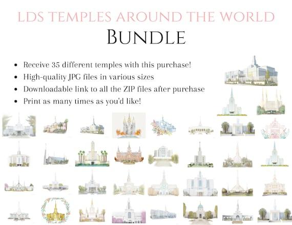 LDS Temple Bundle, 35 Temple Printables, Art Printables, Receive All, Temple JPG Files, Temple Paintings, Digital, Church of Jesus Christ