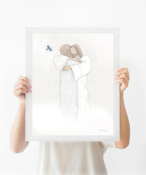 Christ Hugging Grandma, Blue Cardinal, Heavenly Portrait, Jesus Portrait, Christ Portrait, Funeral Portrait, Cemetary Memorial Art, Blue Jay