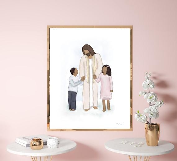 Jesus Walking With Child, Jesus Art, Christ Art, Jesus Painting, Christ Painting, Printable Art, Christian Art, Primary Art, Primary Print