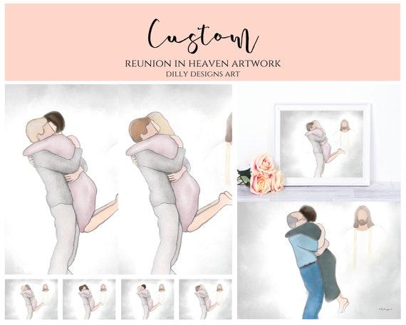 Custom, Personalize, Couple Hugging, Welcome Home, Heavenly Welcome, Couple Embracing, Custom Memorial, Keepsake, Memorium, Funeral Artwork