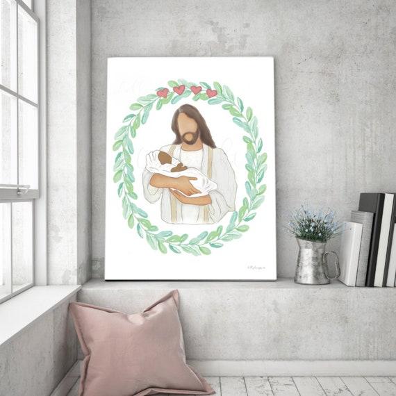 Angel Baby In Heaven, Printable Artwork, Black Baby, Printable Wall Art, Jesus Art, Jesus and baby, Baby and Jesus, Christ and Baby, Jesus