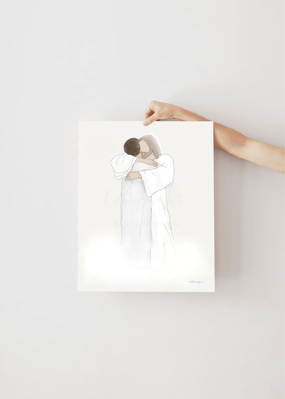 Memorial Artwork, Printable Gift, Jesus Artwork, Christ Artwork, Religious Artwork, Heaven Depiction, Christian Art, Bereavement Art,Funeral