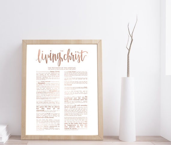 The Living Christ, Modern Emphasized, Modern LDS Printable, Rose Gold, Living Christ Print, Christ Printable, Living Christ Download, Church