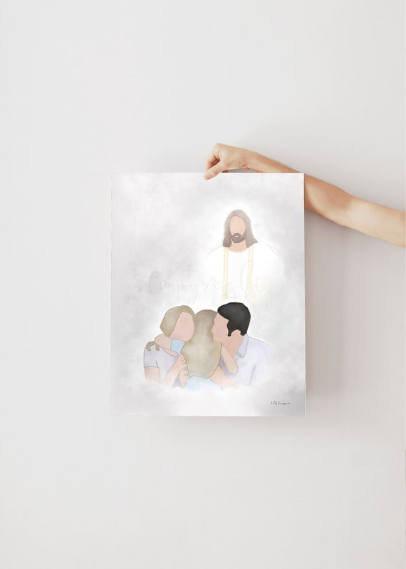 Jesus Christ Art, Family Portrait, Bereavement Art, Funeral Art, Child Bereavement, Child Memorial, Girl Bereavement, Girl Memorial, Funeral