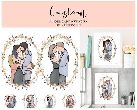 Custom, Create Your Own, Custom Family, Angel Baby, Create Your Family, Family Painting, Digital Artwork, Faceless Family, Custom Art, Art