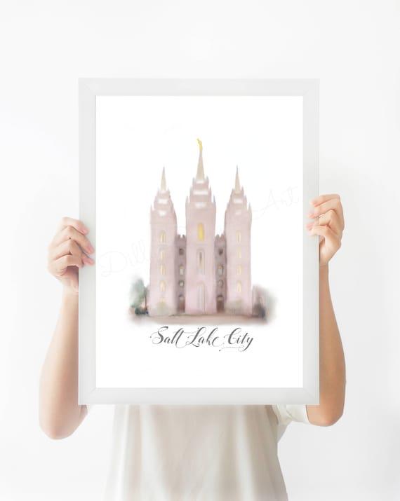 SLC Temple, SLC Temple Art, Temple Square, SLC Temple Wall Art, Temple Wall Art, Lds Wall Art,  Slc Temple, Lds Temple, Temple, Salt Lake