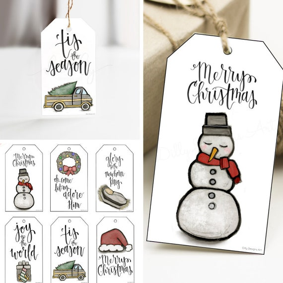 Printable Christmas Tags, Art Gift Tags, Calligraphy Gift Tags, Christmas Gift Tags, Tis The Season, Glory To The Newborn King, Merry Christ