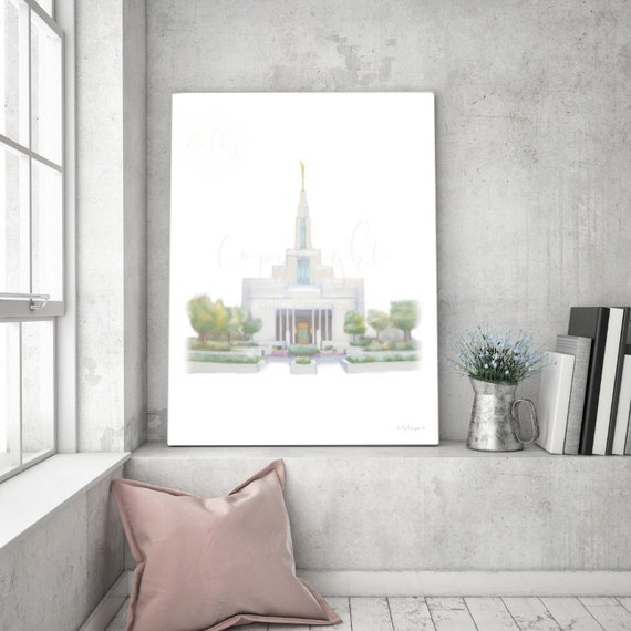 Draper Utah Temple, Draper Temple Painting, Digital Hand Painting, Temple Wall Art, Church of Jesus Christ, Temple Sealing Gift, Temple Gift