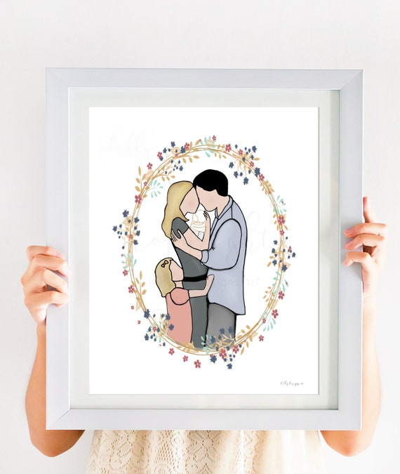 Family Portrait, Child Loss, Infant Loss, Grieving Parents, Sympathy Art, Sympathy Gift, Child Funeral, Loving Memory, Child Tragedy,