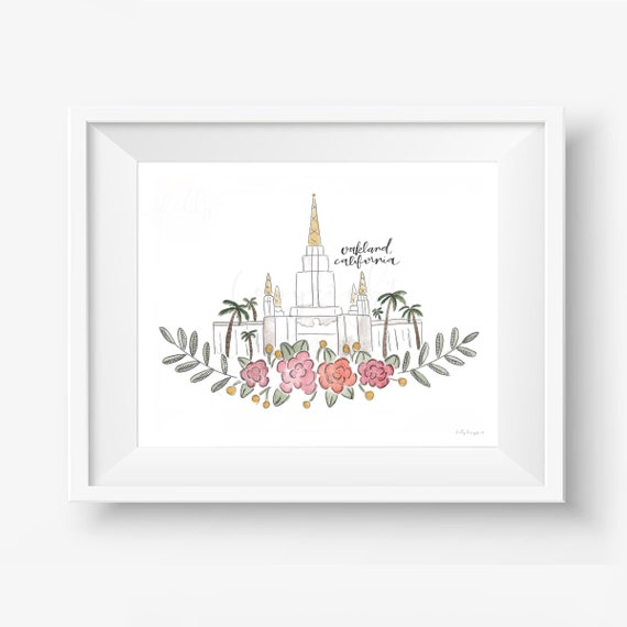 Oakland California LDS Temple Watercolor Print, LDS Temple Artwork, LDS Watercolor Temples, Lds Art, Lds Artwork, Lds Watercolor, Watercolor
