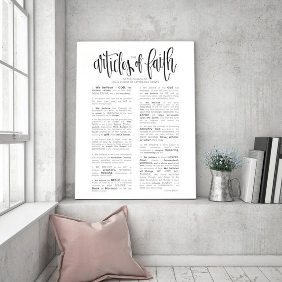 The Articles of Faith, Modern Emphasized, Modern LDS Printable, Articles of Faith Printable, Articles of Faith Sign, LDS Wall Art, Engineer