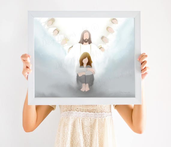 Depression, Christ, Depression Gift, Christ Art, Christian Art, Christian Printables, Trials, Obstacles, Angels, Angel, Overcome, Hope, Art