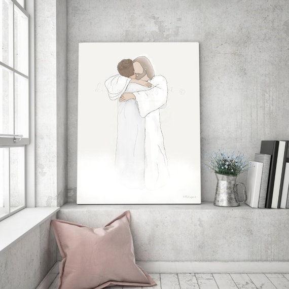 Christ Hugging Man, Printable Artwork, Wall Art, Wall Decor, Savior Art, Grief Gift, Gift For Grieving, Funeral Art, Funeral Gift, Loss Gift