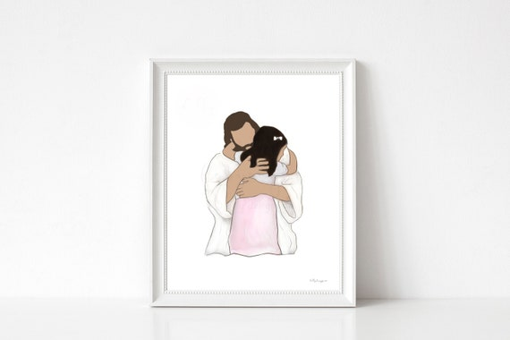 Christ and Child, Brown Girl, Embrace, Jesus Embrace, Hugging Child, Little Kid, Little Child, Suffer The Children, Comforting Art, Christ