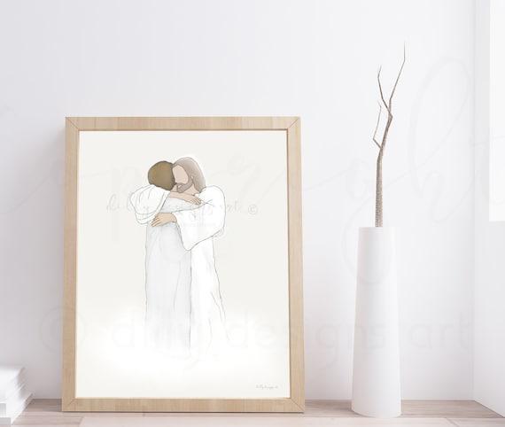 Jesus Artwork, Jesus Art, Jesus Hugging Woman, Brown Short Hair, Religious Art, Religious Decor, Jesus Decor, Jesus Printable, Jesus Drawing