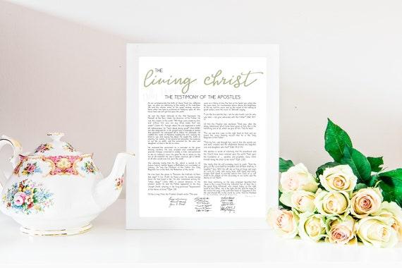The Living Christ, Living, Christ, LDS, LDS Sign, LDS Printable, Wall Art, Living Christ, Sage Green, Mormon Artwork, Lds Printable Art