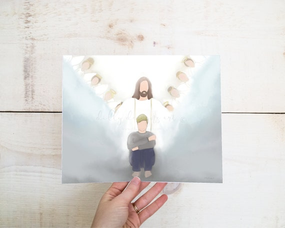 Light of Christ, Blonde Man, Depression, Hope, Gift For Depression, Condolence Gift, Sympathy Gift, Jesus Arms Open, Angels, Christ Artwork