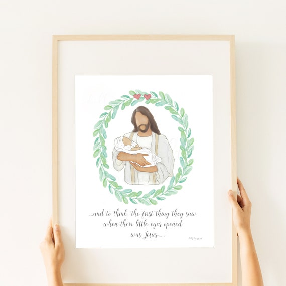 2 Hearts, Baby Losses, Printable Gift, Baby Artwork, Infant Loss, Infant Printable, Jesus Holding Baby, Christ Holding Baby, Jesus and Baby