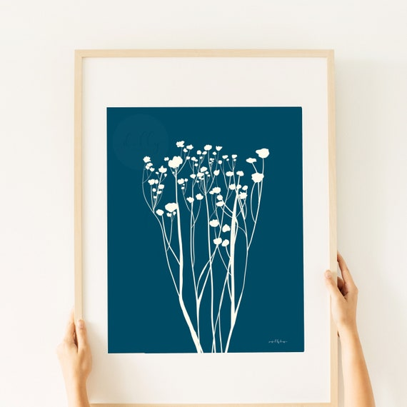 Botanical Printable, Hand Drawn, Navy Blue, Floral Wall Art, Botanical Wall Art, Navy Blue Wall Art, Flowers, Wall Flowers, Blue Flowers,Art