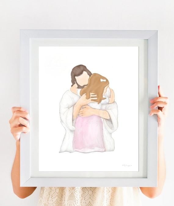 Baptism Artwork, Girl Baptism, Girl Primary, Primary Art, Church of Jesus Christ, Jesus Christ Art, Digital Painting, LDS Art, LDS Painting