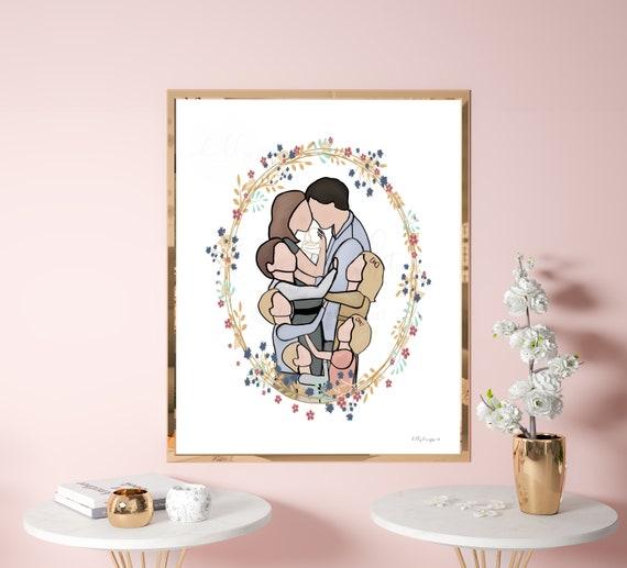 Family Portrait, Angel Baby Art, Faceless Family, 5 Children, Angel Baby, Gift For Baby Loss, Baby Keepsake, Funeral Keepsake, Gift for Loss