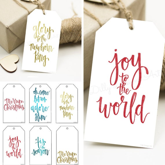 Modern Christmas Tags, Calligraphy Christmas Tags, Christmas Gift Wrapping, Gift Tags, Calligraphy Tags, Present Tags, Printable Tags, Art