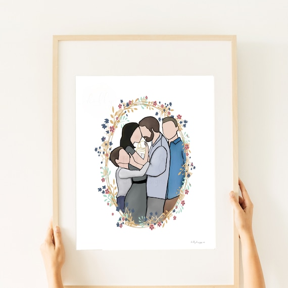 Pencil By Kamie, Family Artwork, Printable Art, Family of 5, Receive Exactly What You See, Two Boys, Memorial Art, Father Gift, Mother Gift