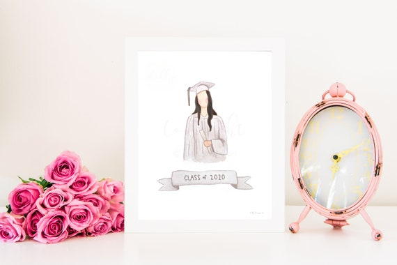 2020 Graduate, Graduation Printable Gift, Graduation Art, Graduate Printable, Girl Graduation, Girl Graduate, 2020 Printable, Watercolor Art