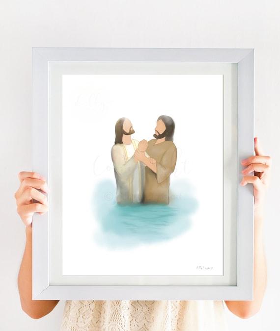 Christ and John The Baptist, St. John, Jesus Christ Baptism, Come Follow Me, Jesus Watercolor, Christ Painting, Digital Watercolor, Baptized