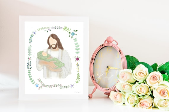 Christ and Baby, Christ and Infant, Christ Holding Baby, Jesus and Baby, Jesus and Infant, Jesus Christ, Angel Baby Gift, Baby Memorial Gift