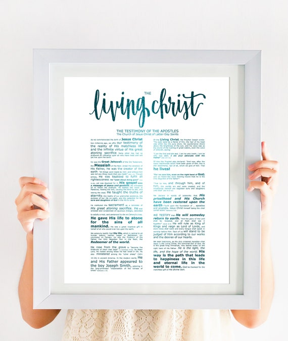 The Living Christ, Modern Emphasized, Modern LDS Printable, Blue Foil, Living Christ Print, Christ Printable, Living Christ Download, Church