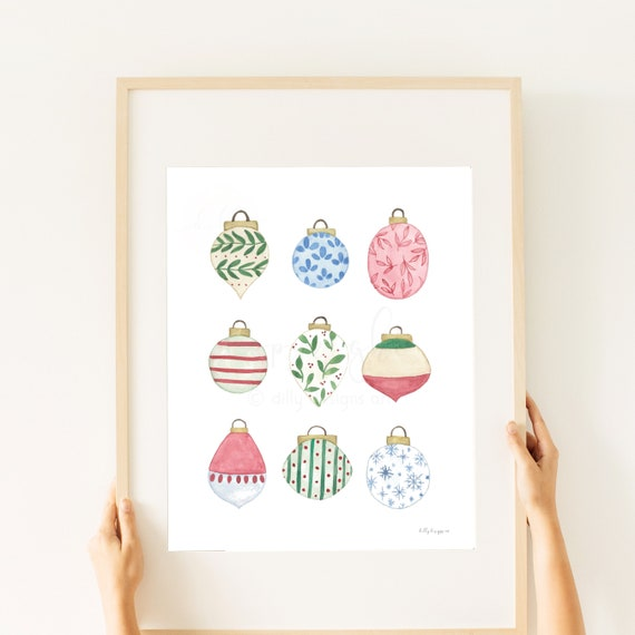 Christmas Ornaments, Watercolor Art, Printable Decor, Christmas Decor, Printable Christmas, Christmas Art, Neighbor Gifts, Print, Mantle Art