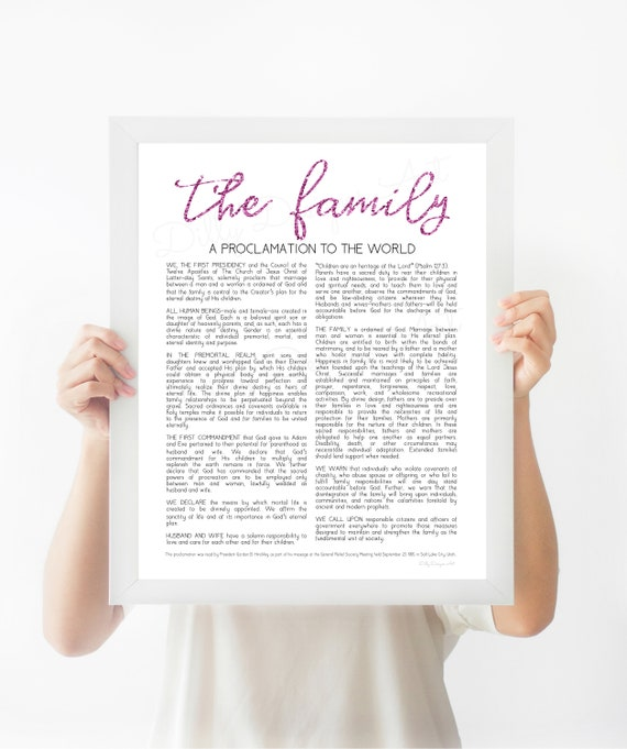 The Family Proclamation, Family Proclamation, The Family, Proclamation, LDS. LDS Art, Modern Family Proclamation, Family Proclamation Sign