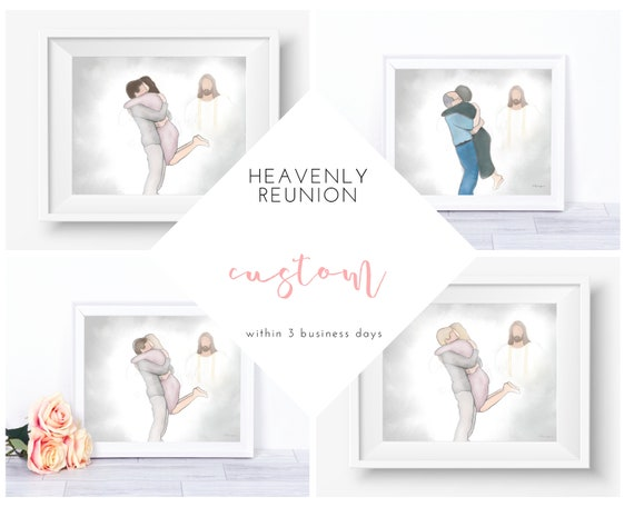 Custom, Personalize, Couple Hugging, Welcome Home, Heavenly Welcome, Receive Within 1-3 Business Days, Couple Embracing, Custom Memorial