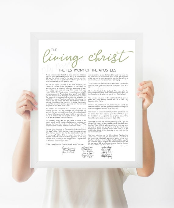 The Living Christ, Living, Christ, LDS, LDS Sign, LDS Printable, Wall Art, Living Christ, Sage Green, Mormon Artwork, Lds Printable Art