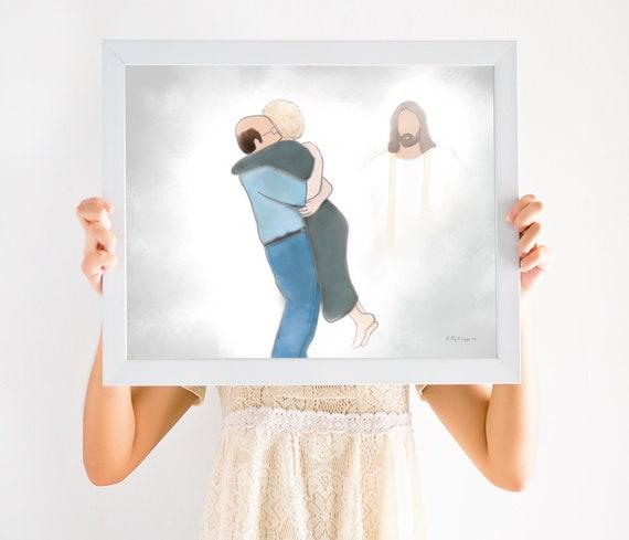 Couple Reuniting In Heaven, Spouse Loss, Husband Loss, Wife Loss, Parent Loss, Sympathy Gift, Sympathy Art, Condolence Gift, Condolence Art