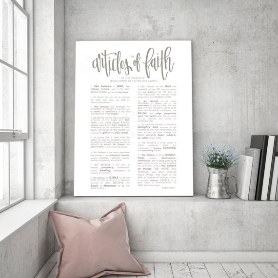 Articles of Faith, Large Church Sign, Gray Articles of Faith, Text Emphasized, Typography, Calligraphy Sign, Church of Jesus Christ, Handout