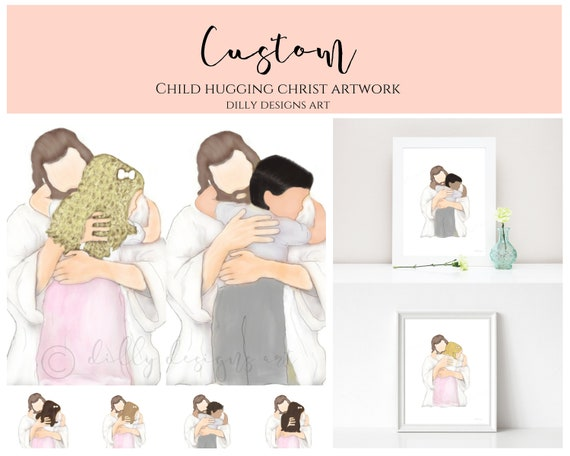 Custom, Personalize, Christ Hugging Child, Hair Color, Hair Style, Jesus and Child, Christ and Child, Baptism Gift, Bereavement Art, Create
