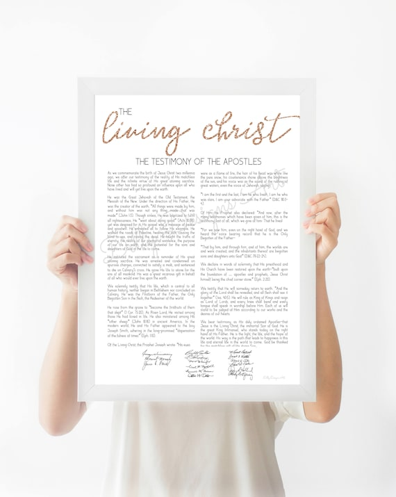 The Living Christ Printable, Rose Gold, Glitter, 16x20, 11x14, 8x10, The Living Christ Modern Print, Modern Living Christ, First Presidency